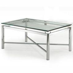 Steve Silver Nova Cocktail Table, Glass Top and Chrome Base