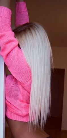 Long white blonde hair with roots                                                                                                                                                                                 More