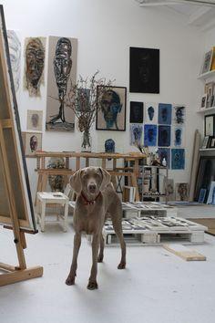 Atelier Mart visser --looks like my studio ; Atelier Creation, Atelier D Art, Art Studio Design, Art Studio At Home, House Studio, Dream Studio, Painting Studio, Dream Art, Art Studios