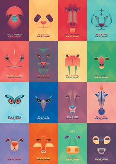 Be Yourself on Behance..  ~Love his simple use of shapes to create these awesome animal faces :)