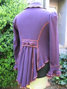 Aubergine 9 to 5 Tail Coat / made of recycled cotton by CouturierFaerieVerte