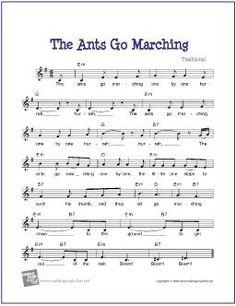 The Ants Go Marching   Free Sheet for Guitar - http://www.makingmusicfun.net/htm/f_printit_free_printable_sheet_music/ants_go_marching_leadsheet.htm