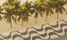 Copacabana's famous wave mosaic motif on the mosa 'Portuguese' pavement. Photograph: Jeremy Walker/Getty Images