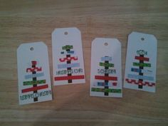 Christmas gift tags made with cardstock and scrapbook paper