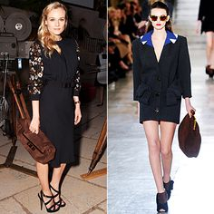 Star Must-Have Boots, Heels and Bags  Diane Kruger in Miu Miu.   Miu Miu maven Diane Kruger must really love the '40s-inspired Fall 2011 collection—she also snapped up an oversize suede clutch to wear with a dress from the brand.