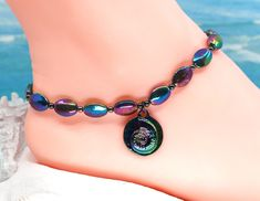Carnival anklet, ammonite jewelry, rainbow anklet, gift under 30 by CustomAnkletsByLori on Etsy Boho Gypsy, Hippie Boho, Thing 1, Make Color, Ammonite, Ankle Bracelets, Anklets, Mother Day Gifts, Anniversary Gifts