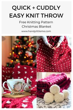 The Christmas blanket is soft, squishy and quicker to make than most, which makes it an excellent project! Start making your own festive throw and get cosy with a cup of cocoa. Christmas Knitting Patterns, Knitting Patterns Free, Free Knitting, Knit Patterns, Cosy Christmas, Christmas Tree Crafts, Knitting Abbreviations, Quick Knits, Knitted Throws