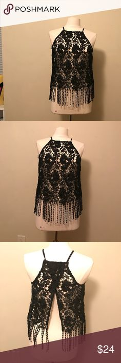 Lace black shirt see through lace black shirt. Can be used dresses up or dressed down. Even as a really cute bathing suit cover up Tops Blouses