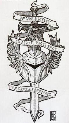- Helmet Tattoo - Interesting layout for sword and helmet Interesting layout for sword and helmet. Neue Tattoos, Body Art Tattoos, Tribal Tattoos, Sleeve Tattoos, 3d Tattoos, Polynesian Tattoos, Geometric Tattoos, Tattoo Ink, Tattoo Design Drawings
