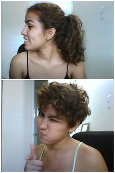 Before and after my curly pixie cut. Donated about..10 inches? If you're thinking about cutting your hair and you're not sure it will look good because it's curly, I say just go for it!  (Also, ignore the idiot face)