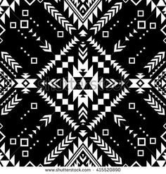 black and white color tribal Navajo vector seamless pattern. aztec fancy abstract geometric art print. ethnic hipster backdrop. Wallpaper, cloth design, fabric, paper, cover, textile, weave, wrapping.