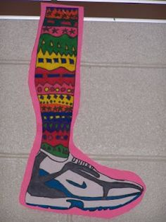 crazy socks - draw a realistic shoe and add crazy socks! This could be great to go with the element of line!  Contour drawings for shoes and different lines for the socks!