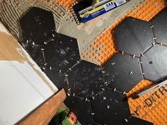 How to lay big hexagon tile!: Week 3 of the One Room Challenge / Create / Enjoy Large Hexagon Floor Tile, Honeycomb Tile, Tile Floor, Hex Tile, Tile Saw, Mosaic Tiles, Hexagone Tile, Tile Leveling System, Hallway Flooring