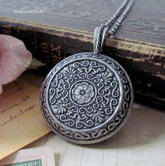 Antique Silver Large Round  Locket Necklace by gsakowskistudio, $23.00