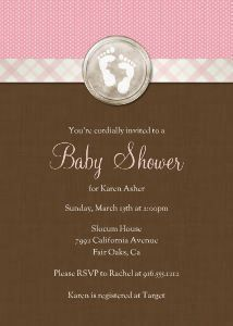 Mixbook Tiny Footprints Girls Baby Shower Invitations