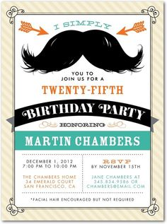 Magnificent Mustache - Adult Birthday Party Invitations in Eggshell or Powder Blue | Louella Press