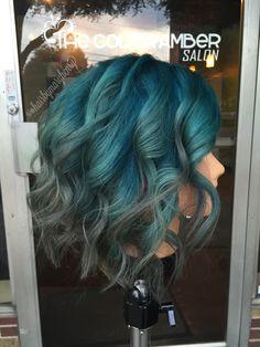 Teal and grey hair. #tealhair #bluehair #greyhair #hairinspiration