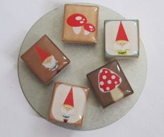 Woodland Gnome and Toadstool Set of 5 by littlebeanoriginals, $4.25