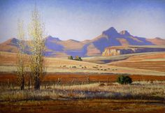 paintings by Roelof Rossouw - near Clarens, South Africa Landscape Drawings, Cool Landscapes, Watercolor Landscape, Landscape Art, Landscape Paintings, Landscape Photos, Africa Painting, African Artwork, Nature Paintings