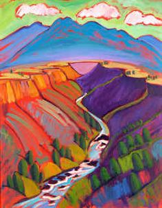 Jill Pease, Southwest Art ~ inspiration for a landscape quilt - see others on website Landscape Quilts, Landscape Art, Landscape Paintings, Landscapes, Southwestern Art, Southwest Quilts, Desert Art, Native American Art, Elementary Art