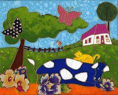 La vache albertine par Isabelle Malo • Acrylique sur toile et collage • Mixed media • Folk art  • www.isamalo.com • Artiste peintre du Québec •Art naïf