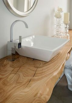 mensola per lavabo in legno massello con trattamento resinato