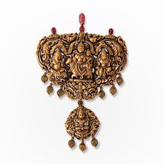 "# A Gold Reposse Pendant, #""Shiv Darbar,#Jewels from South India 