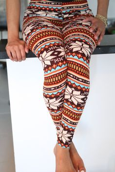 Klassy ♥ Kassy - Snowflake On A Warm Day leggings, multi-brown, $9.00 (http://klassykassy.com/product/snowflake-on-a-warm-day-leggings-multi-brown)
