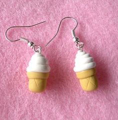 vanilla soft serve icecream :) The icecream earrings comes gift wrapped! ♥ Handmade with polymer clay ♥ Silver plated earrings with stoppers ♥ Always Gift Wrapped ♥ + These soft serve icecream earrings are also available in studs + Diy Clay Earrings, Cute Earrings, Earrings Handmade, Polymer Clay Charms, Polymer Clay Jewelry, Crea Fimo, Biscuit, Creations, Cute Jewelry