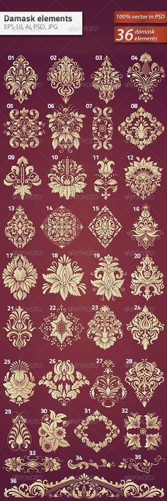 Buy 36 Damask Ornamental Elements by GarryKillian on GraphicRiver. Vector set of damask ornamental elements. Elegant floral abstract elements for design. Perfect for invitations, cards. Hand Embroidery, Embroidery Designs, Stencils, Tattoo Symbole, Tattoo Schwarz, Motifs Perler, Emoticon, Vintage Flowers, Clipart