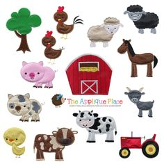 These are machine embroidery applique designs. You will recieve the following designs: Black Sheep Chick Dairy Cow Goat Hen Horse Jersey Cow Messy Pig Oak Tree Pig Red Barn Rooster Sheep Tractor They will come in 3 hoop sizes: 4x4 5x7 6x10 in the following formats: DST, EXP, HUS, JEF, PES, SEW, VIP, XXX These designs will be emailed to you automatically after purchase. If you did not receive them right away or missed the email, please contact m...