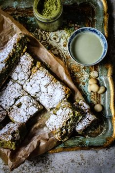 matcha macadamia nut white chocolate brownies