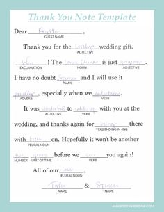a fun mad lib style thank you note template to help any bride write thoughtful personalized notes weddings printable