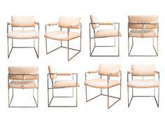 Milo Baughman Chrome Arm Chairs S/8