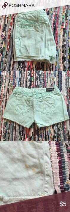 Mint Green Shorts 100% cotton || stains on left leg. shown in picture. Rewash Shorts
