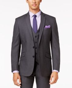 Kenneth Cole Reaction Gray Tonal Shadow Check Slim-Fit Vested Suit