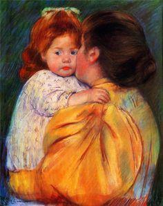 Maternal Kiss - Mary Cassatt, 1896  beautiful red headed baby girl...:)