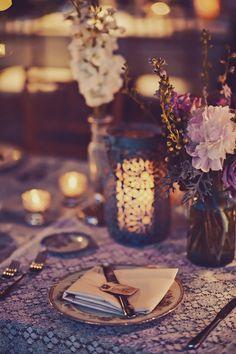 vintage candle lit reception tables