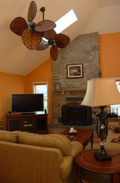 Slanted ceiling.  Family Room Design Ideas, Pictures, Remodel, and Decor