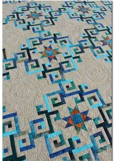 Quilting - quilt is Aegean Sea from Judi Martin's Stellar Quilts. Soooo want to make this quilt.