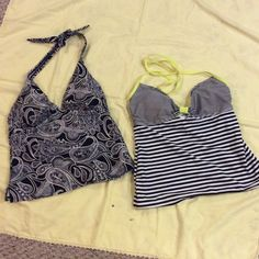 JANTZEN & OLD NAVY SWIMSUIT TOPS-HALTER STYLE These cute swim tops are in super condition! Both have some padding-halter style. The Old Navy top is SZ S. The Jantzen states SZ 10, but this can't be correct. Fits like a S. Jantzen & Old Navy Swim