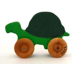 Personalized Wood Toy - Turtle Push Toy - Waldorf Pretend Play Animal  This personalized wooden toy turtle will make a wonderful gift for a little