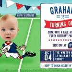 Print off our Rugby Birthday Invitations for a kids party. We'll customise with a photo and your team colours and wording. Print off as many as you need.