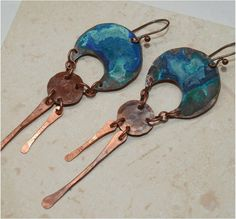 Hammered Rustic Copper Earrings with Patina by SunStones on Etsy, $17.50