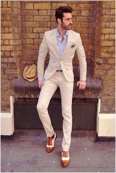 2017 terno slim fit wedding suits for men beige two pieces mens suits with Sharp Dressed Man, Well Dressed Men, Costume Beige, Style Gentleman, Modern Gentleman, Terno Slim, Suit Combinations, Look Man, Herren Outfit