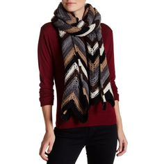 Steve Madden Boogie Knit Skinny Scarf ($17) ❤ liked on Polyvore featuring accessories, scarves, neutral, steve madden, knit shawl, chevron scarves, knit scarves and chevron print scarves