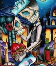 masquerade by dave sanchez skeleton sugar skull lovers tattoo paper art print skeleton-sugar-skulls salsa skeleton love mexican-death-mask alternative-artwork Stretched Canvas Prints, Canvas Art Prints, Fine Art Prints, Tattoo Chicana, Los Muertos Tattoo, Catrina Tattoo, Day Of The Dead Art, Sugar Skull Art, Sugar Skulls