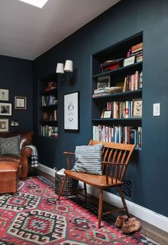 Emily Henderson Hague Blue Reading Nook | Leather Chair | Gallery Wall | Bookshelves