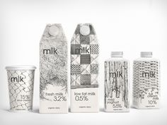 graphic, white design, brand agenc, milk cartons, black white, packag design, drinks, milk packag, country