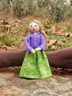 Natural Handmade Waldorf Inspired Dollhouse Family Doll- Daughter – Wildflower Innocence Toys
